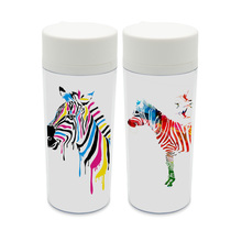 Plastic Insulated Modern Abstract Wildlife Animals Colorful Zebra Kids Water Bottle 300ml Gift BPA Free Personalized Drinkware