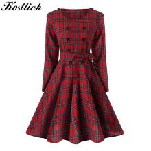 Buy Kostlich Retro Plaid Women Autumn Dress 2017 Long Sleeve Hepburn Style Belt Tunic Vintage Dress Elegant Swing Rockabilly Dresses for $13.32 in AliExpress store