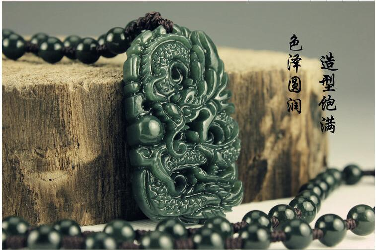 Natural Real HeTian Jadee Carved Dragon Lucky Amulet pendants Dark green jadee Pendant Fashion Jewelry with rope(China (Mainland))