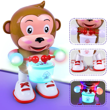 Kids Electric Pet Monkey Toy LED Flashing Musical Dancing Toy Baby Plastics Developmental Toy For Children Christmas Gift(China)