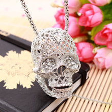 Buy Fashion Stereo Skull Necklace high inlaid rhinestone Pendant jewelry long Sweater Chain Pendant Skull Necklace 19038 for $2.49 in AliExpress store