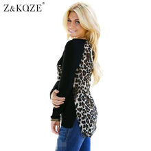 Z&KOZE 2017 New Women Blouse Chiffon Patchwork Leopard Printed Long Sleeve Casual Shirts Top Plus Size Blusas Femininas