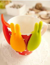 Rabbit Silicone Tea Bag Hook Wineglass Label Hang Disc Clip Tea Spoon for Party Lovely Cooking Tools 10*5cm