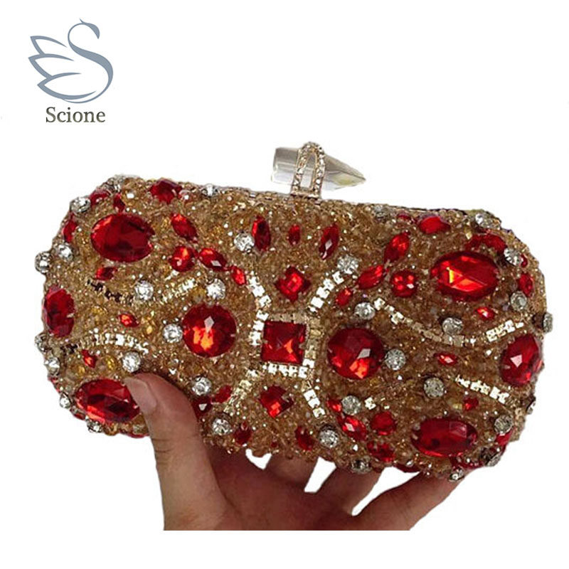 Diamond Luxury Crystal Clutches Evening Bags Wedding Party Banquet Women Handbags Bridal Rhinestones Bling Queen Clutch 281t<br>