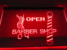 LB006- OPEN Barber  Pole Scissor   LED Neon Light Sign     home decor  crafts