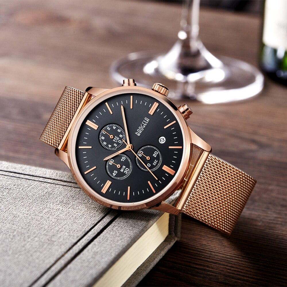 BAOGELA Chronograph New Men Quartz Watch Stainless Steel Mesh Band Gold Watches Slim Men Watches Relogio Masculino Wristwatches<br>