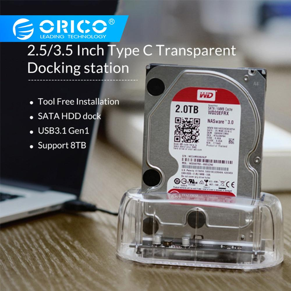 ORICO USB3.0 Type-C 2.5/'/' Transparent Hard Drive External Enclosure for HDD SSD