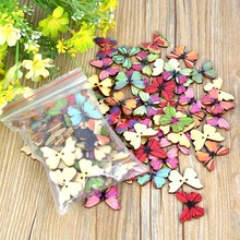 50Pcs Mixed Color Resin Butterfly Sewing Buttons DIY Scrapbooking Decor(China)