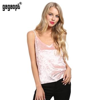 Gagaopt 2016 sexy profundo escote en v de terciopelo mujeres top estilo sin mangas del verano pink tank top con tirantes tanque partido casual crop tops