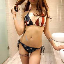 Swimsuit 2 piece set women Sexy shorts and bras 2017 Summer Fashion American flag prints ladies super bikini twinset suits Girls