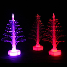1 Pc Fashion Christmas Xmas Tree 7 Colors Changing LED Light Up Lamp  Party Decoration Fun Toys for Kids Children Game Gifts