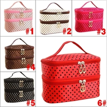 2017 New Fashion Double-deck Travel Toiletry Beauty Cosmetic Bag Makeup Case Organizer Zipper Holder Handbag LXX9