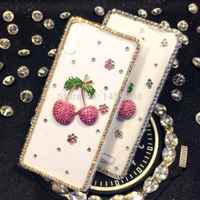 For Samsung Galaxy J2 2015 J200 Handmade Rhinestone Cherry Diamond Cover Cases(China)