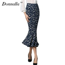 Donnalla Women Skirts Flower Printed Chiffon Fishtail Skirt Ladies High Quality Elegant OL Office Work Long Trumpet Skirts
