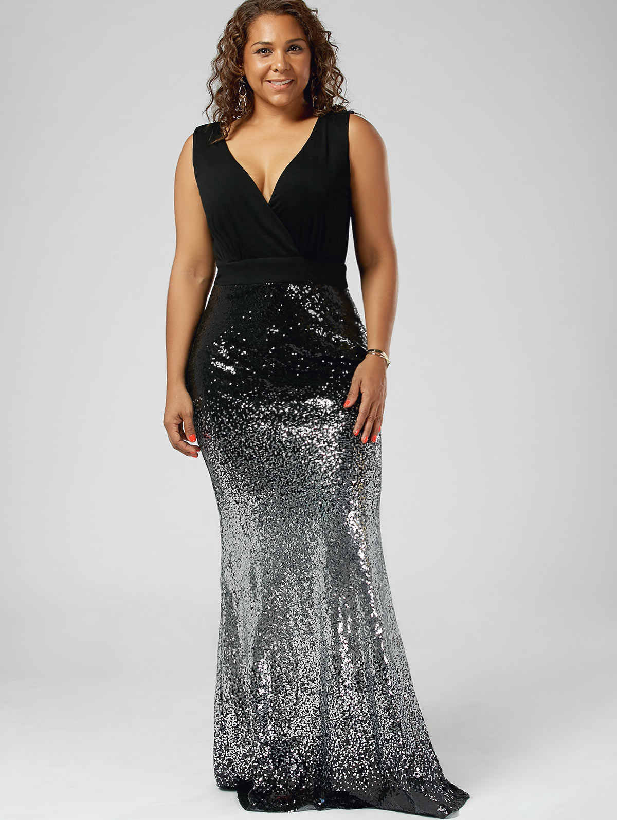 Kenancy Women Plus Size Maxi Fishtail Dress Maxi Sparkly Prom Mermaid  Dresses Sleeveless Sexy V- b34e29d7d923