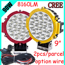 "Free DHL/UPS Ship,9"" 90W 8160LM 10~30V,6500K,LED working light;Free ship!Optional wire;motorcycle light,forklift,tractor light"