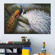 Wall Art, Wall Decor, Wall Painting Peacock feathers Digital oil Painting Print, Nice Painting for wall picture no frame(China)