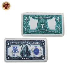 WR Business Souvenir Gifts 1899 Year 5 Dollar Paper Money Silver Bars Collectible Fake Bars Metal Crafts Gift Items for Men(China)