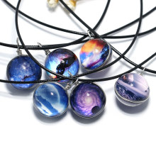 NingXiang 12pcs/lot 2017 New Arrival Nebula Space Universe Galaxy Necklace Women Girls Wholesale Glass Ball Choker Necklace Gift(China)