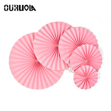 "OURUOLA Mix 6"" 8"" 10"" 12""14"" Cheap Paper Fans Wedding Tissue Hard Paper Flowers Birthday Party Holiday Supplies Decoracion Boda"