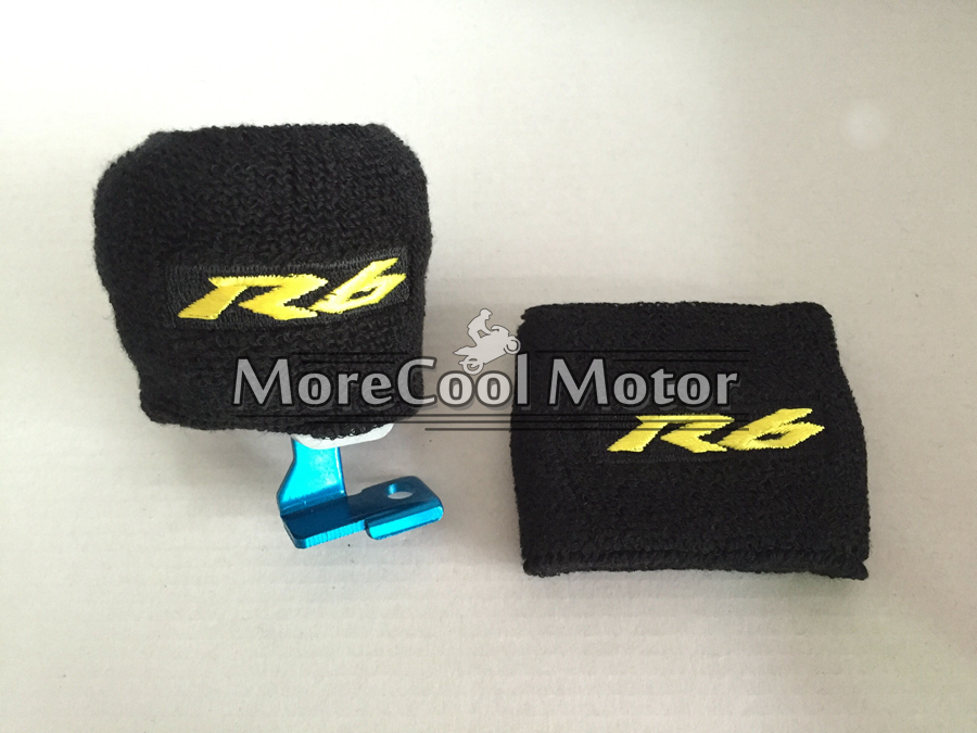 1 Pair Gold R6 Logo NEW Oil Reservoir Cover Sock Cuff Motorcycle Front Brake Fluid Tank Cover For Yamaha YZF R6<br><br>Aliexpress