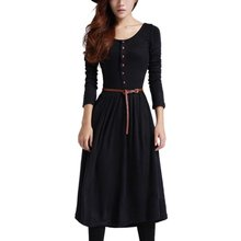 Spring Autumn Women Casual Dresses Retro Fan Dresses Women Long Sleeve O-neck Slim Dress With the Belt Women Vestidos