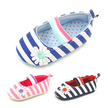 Wholesale spring New First Walker Baby Striped Canvas Newborn Girl Toddler Shoes embroidered Flower Elastic Band Baby Shoes