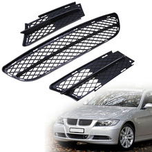 Car Front Bumper Lower ABS Side Fog Light Grille For BMW 3 Series E90/E91 Sedan/Wagon Pre-facelift 2004-2008 Black Racing Grille