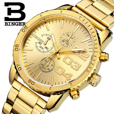 Switzerland Binger Watches Sport Watch Stainless Steel Case Gold Yellow 3D Analog Luminous Hands Outdoor Mens Quartz Wristwatch<br>