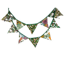 3.2m camouflage Army green Cotton Banner Flag Pennant Garland Birthday Party Home Room Outdoor Decor Camping Ornament Kids Gift