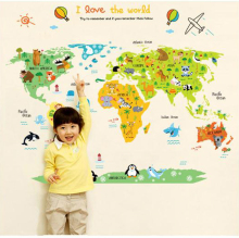 Free Shipping 60*90cm Animal Cartoon World Map Wall Sticker Wall Mural Home Decor Kids Bedroom Decals Animal background sticker