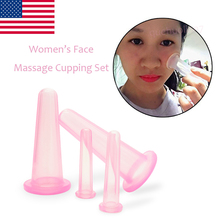 2017 New Design 4 PCS Massage Cupping Set 100% Silicone Facial&Eyes Healthy Care Massager Vacuum Therapy Cups Reduce Fine Lines(China)