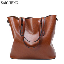 SAICHENG Leather Women's Handbags Luxury Handbags Women Bags Designer Solid Women Bag Ladies Shoulder Bags Big Crossboday Bag