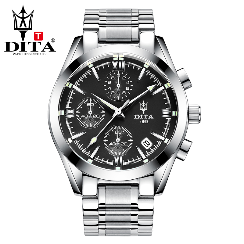 DITA Chronograph Date analog Mens Watch 3 Workable Quartz Sport Military Wristwatch stainless steel bracelectrelogio masculino <br>