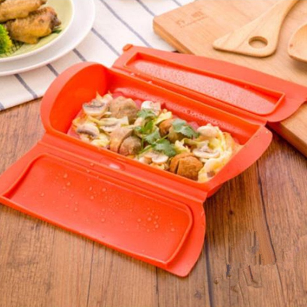 Microwave Oven Food Steamer Food-graded Silicone Healthy Cooking Steam Fish  Meat Vegetable Bowl Lunch Box Kitchen Utensils Tools - us228