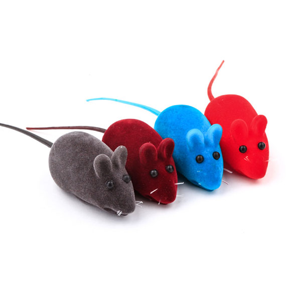 Cats Kitten Cute Little Mouse Furry Vinyl Toy Squeak Noise Sound Rat Gift For Cat Pet Random Color(China (Mainland))