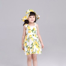 Lemon Summer Brace Dress + Hat Girls Vestido Top Quality Girl Dresses Children Sundress Girl's Clothes Cotton Evening Dress