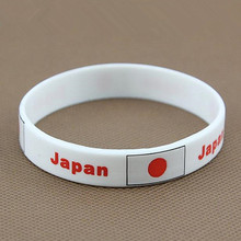 2pcs Japan Flag Nation Football Team Wristband World Cup Soccer Game Souvenir ID Silicone Bracelet Wrist Band Bangle Gift 2018(China)