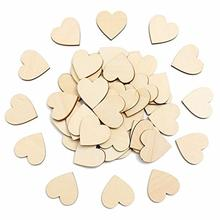 50pcs 60mm Blank Unfinished Wooden Heart Crafts Supplies Laser Wood Wedding Decoration Teaching DIY Accessories