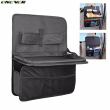 Auto Car Seat Back Organizer With Foldable Food Tray Table Mesh Pockets Drinks Holder Waterproof Multi-Pocket Travel Storage Bag
