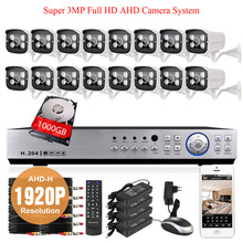 Super HD SONY 3MP 1920P security camera waterproof 4*array leds with 16Channel Full AHD-H 1080p DVR Video Surveillance system