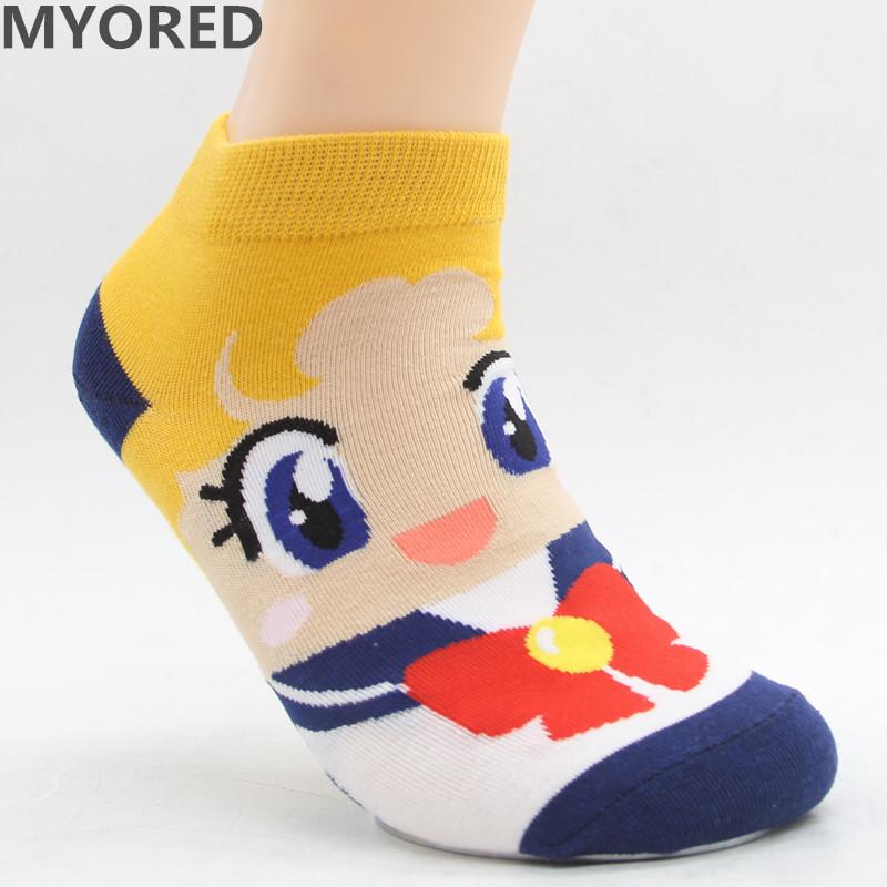 MYORED Spring summer fashion women's short tube socks cartoon cotton socks Cute lovely sailor moon female ankle sock 6pair/Lot 15