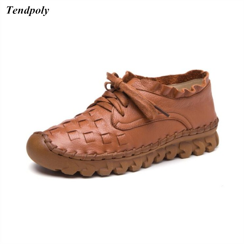 2018 new retro fashion womens shoes four seasons size (35-40) lace genuine leather trendy single shoes hot sales casual shoes<br>