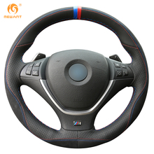 Mewant Black Leather Black Suede Car Steering Wheel Cover for BMW E70 X5 2008-2013 E71 X6 2008-2014