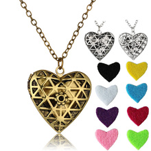 LUOTY Retro Classics Copper Alloy Hollow Heart Shape Floating Locket Long Pendant Diffuser Necklace