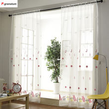 Single Panels Sheer Christmas Curtains For Living Room Kids Decoration Pink Embroidered Voile Curtains For Children(China)