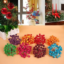 Xmas Decor 8 colors Artificial Red Berry Flowers 40 Flower Head Floral Home Wedding Christmas Decor New Year Decor