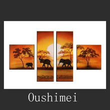 Hand Painted Oil Painting Landscape On Canvas Home Decor Handmade Elephant Paints Wall Art Group Of Africa Landscape Pictures