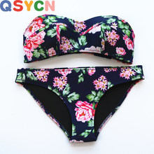 QSYCN 2017 New Summer Bathing suit Women's Printing Bikini Sexy Swimsuit Set Bathsuit Tube Swimwear High Quality Neoprene Bikini