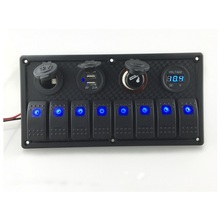 12V-24V DC 8 Gang Waterproof Marine Blue Led Switch Panel with Power Socket Voltmeter and USB LED Light Indicator Breaker Switch